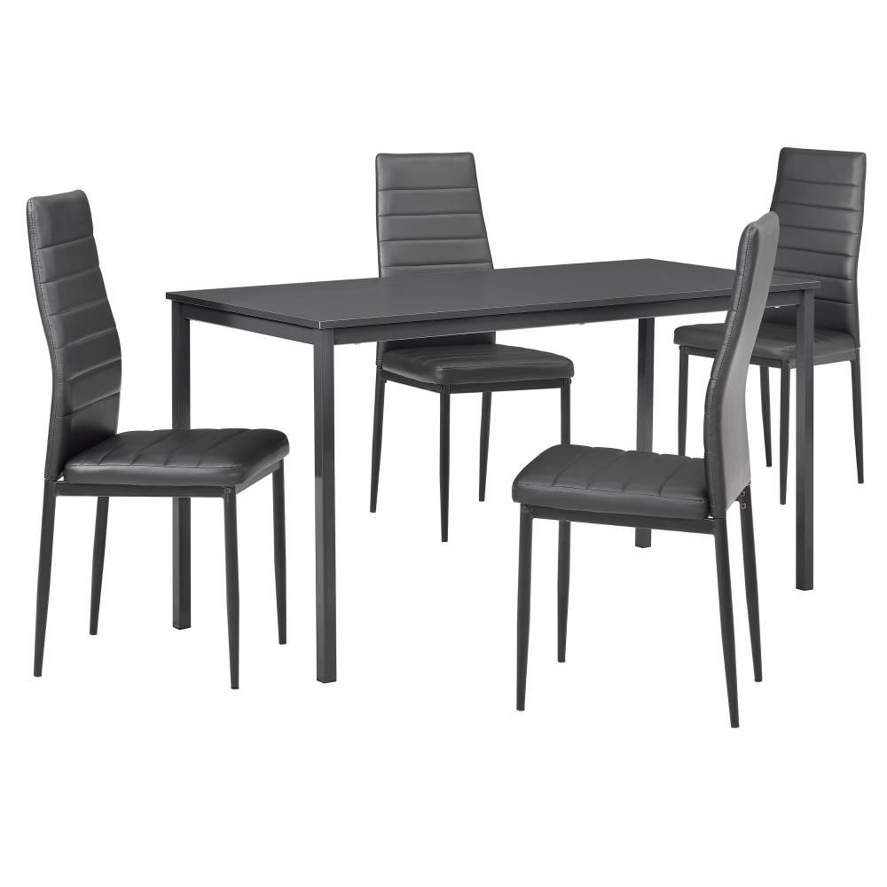 [en.casa]® Štýlový dizajnový jedálenský stôl (140 x 60 cm) - so 4 elegantnými stoličkami (tmavo sivé)