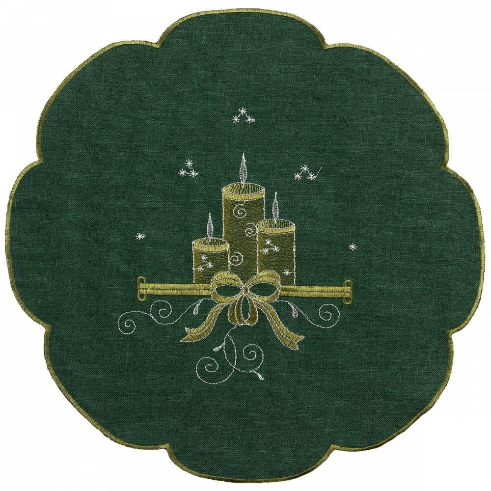 Forbyt Vianočný obrus Sviečky zelená, 35 cm, pr. 35 cm