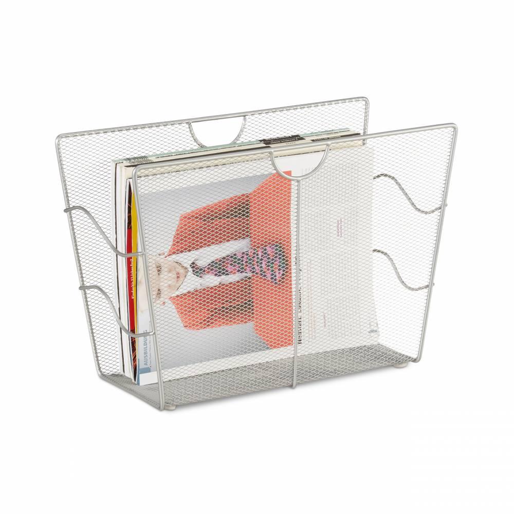 Stojan na noviny a časopisy, kovový strieborný RD2510