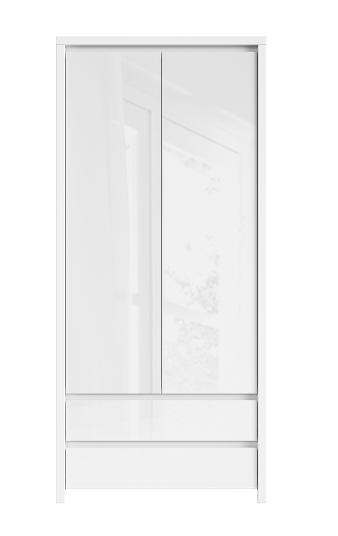 Šatníková skriňa Kaspian SZF2D2S   Farba: Biela / biela lesk