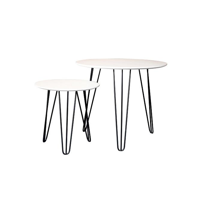 TEMPO KONDELA Set príručných stolíkov, biela/čierna, HOLDEN 2V1