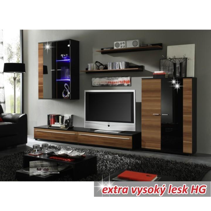 TEMPO KONDELA Obývacia stena, s LED osvetlením, slivka/čierna extra vysoký lesk HG, CANES NEW
