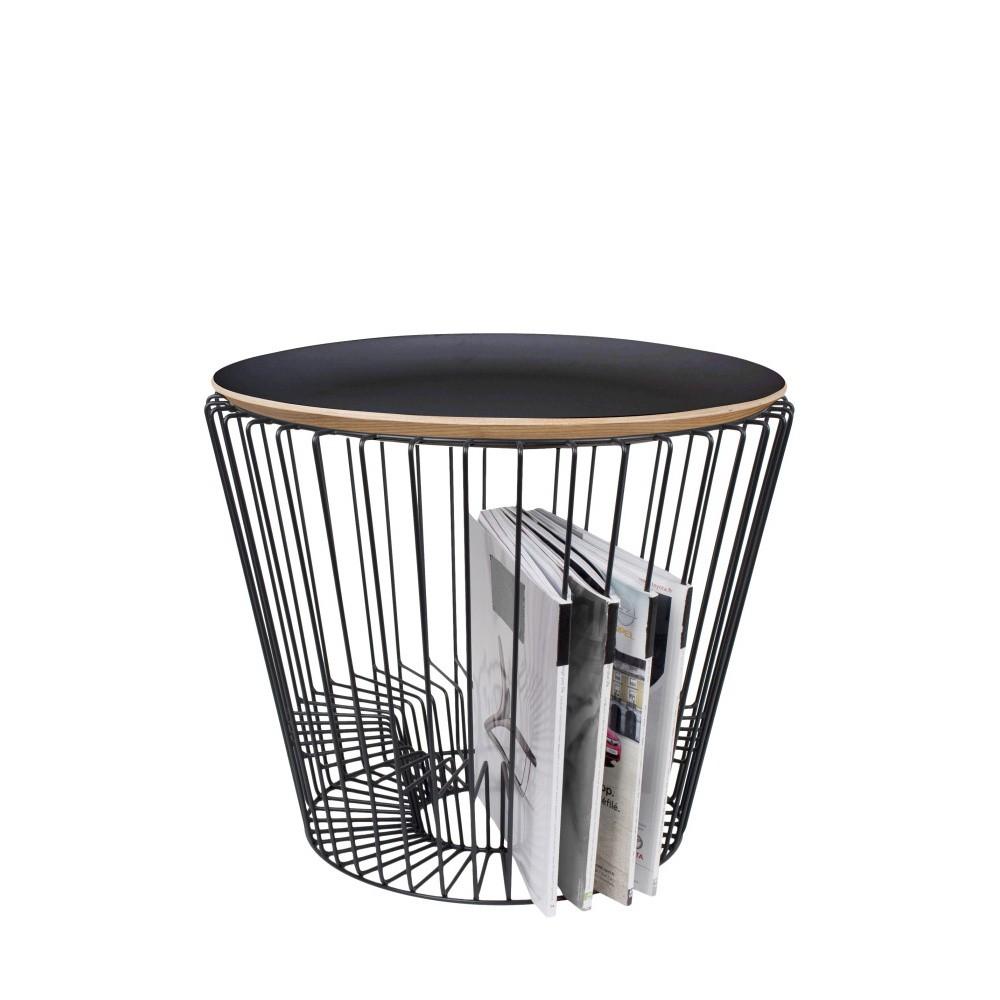 Odkladací stolík z lakovaného kovu s čiernou doskou HARTÔ, Ø50 cm