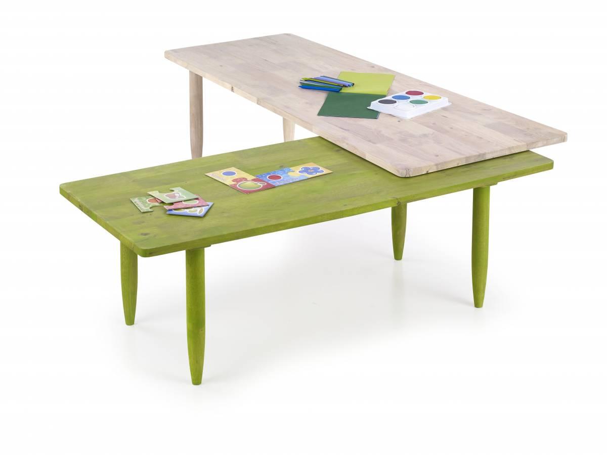 Konferenčný stolík Bora-Bora (white washed wood + zelená)