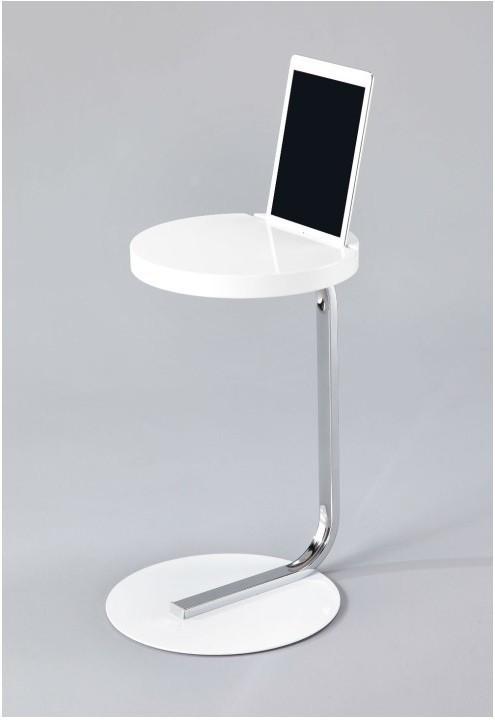 Príručný stolík so zárezom na tablet, MDF+kov+chróm, biely, MILANA