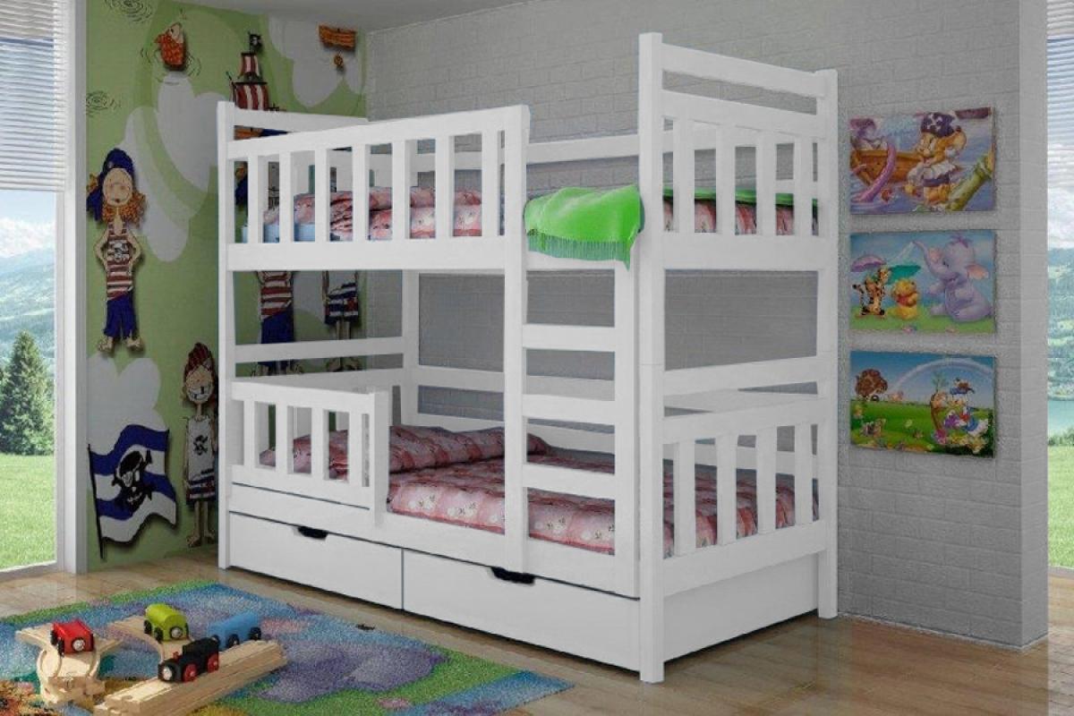 Nabytok-Bogart Poschodová posteľ adas 80 x 180 biela - posledný kus