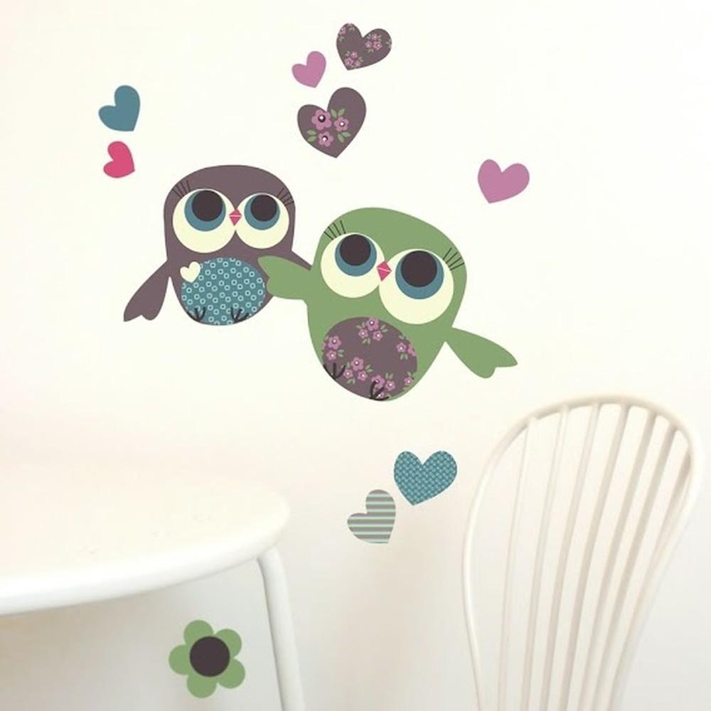 Samolepka na viac použití Owls Mini, 30x21 cm