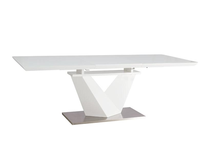 ALARIS jedálenský rozkladací stôl 160, biela/biely lesk