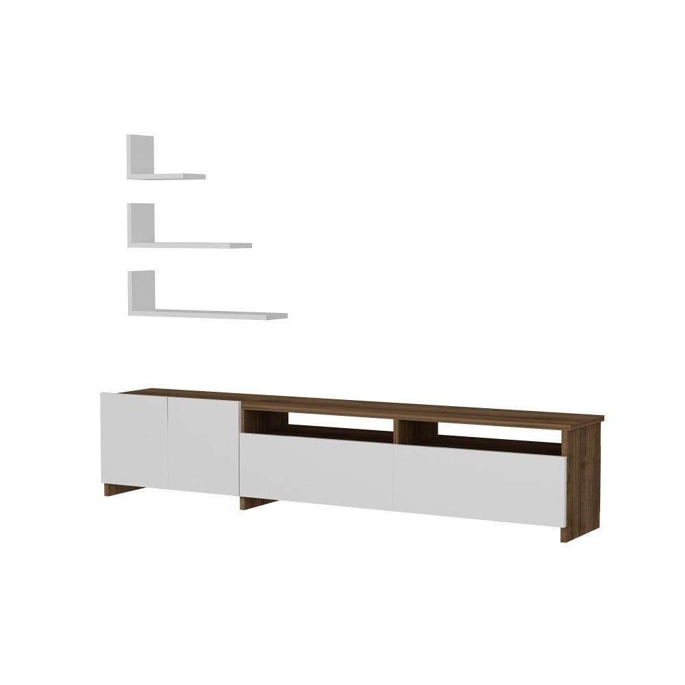 Set bieleho TV stolíka a 3 nástenných políc s detailmi v dekore orechového dreva Gardo Gelincik