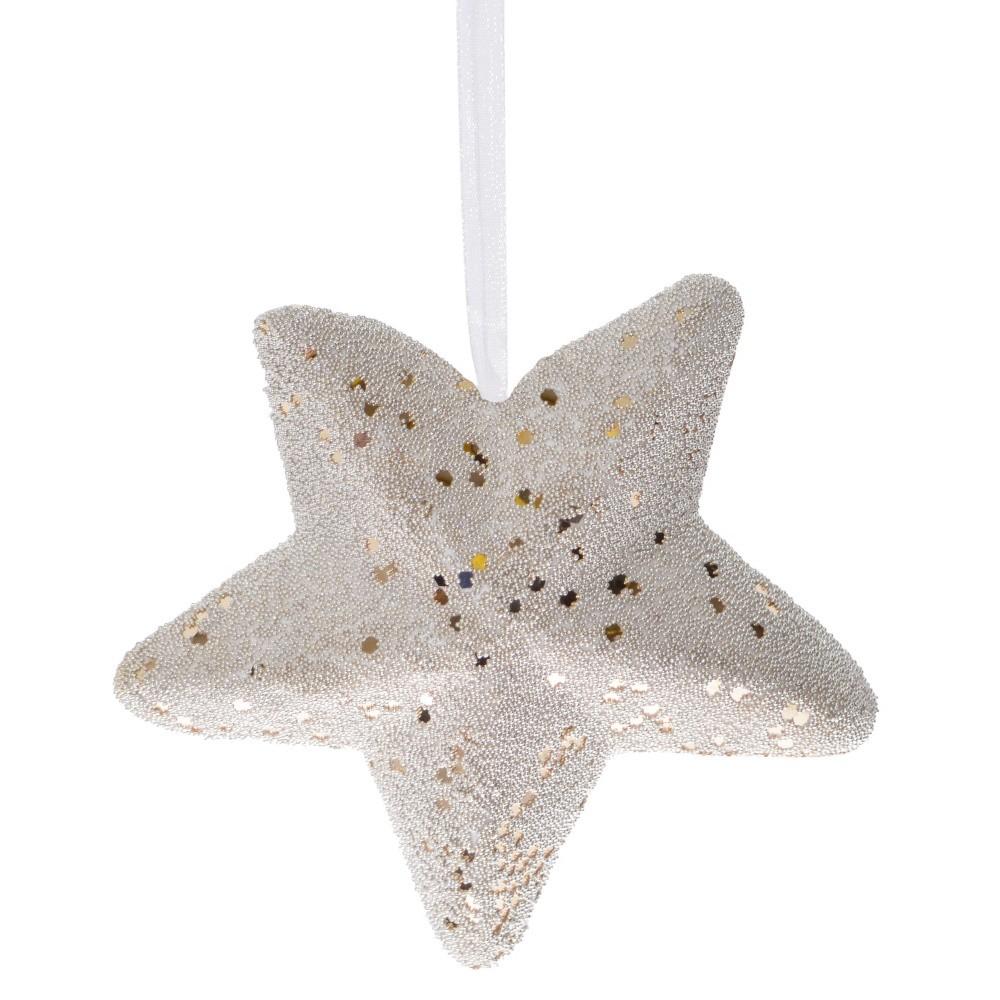 Závesná dekorácia v bielej a zlatej farbe Ewax Star