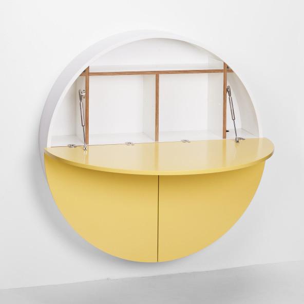 Multifunkčný nástenný stôl Pill Emko, biela/žltá