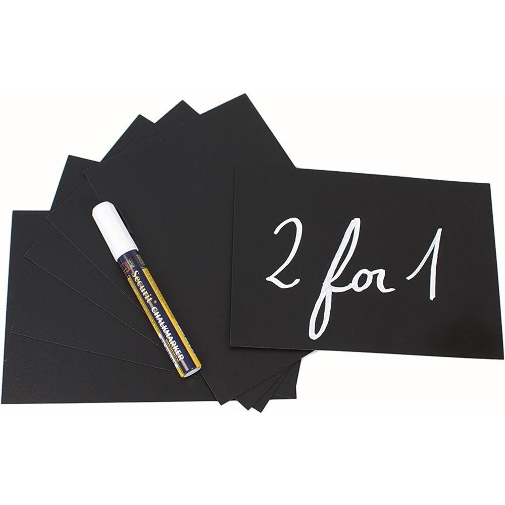 Set 10 tabuľových štítkov vo formáte A5, popisovača a stojana Securit Nice