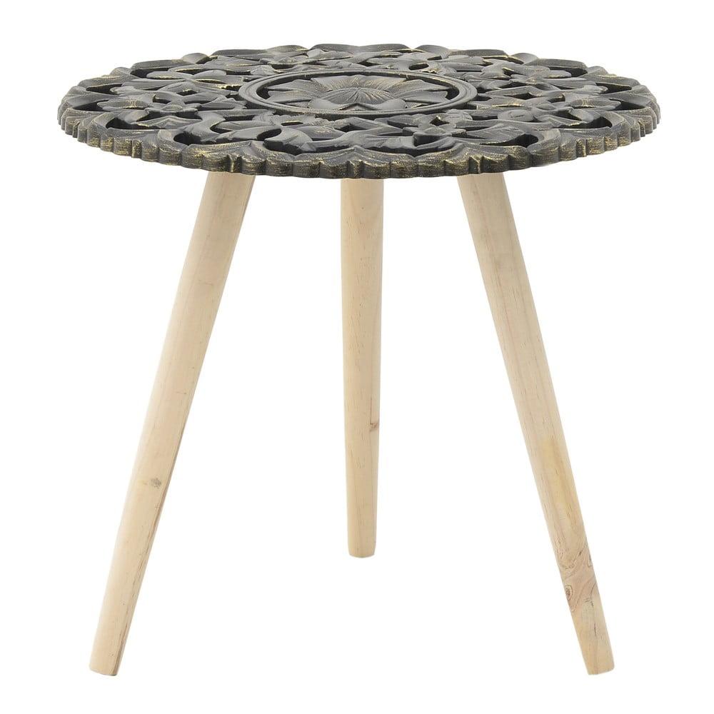 Tmavosivý odkladací stolík z brezového dreva InArt Antique