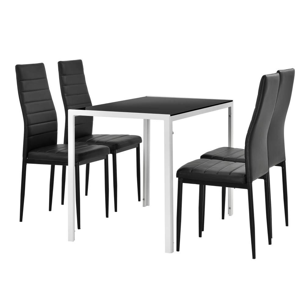 [en.casa]® Štýlový dizajnový jedálenský stôl - biely sklenený stôl s čiernymi stoličkami
