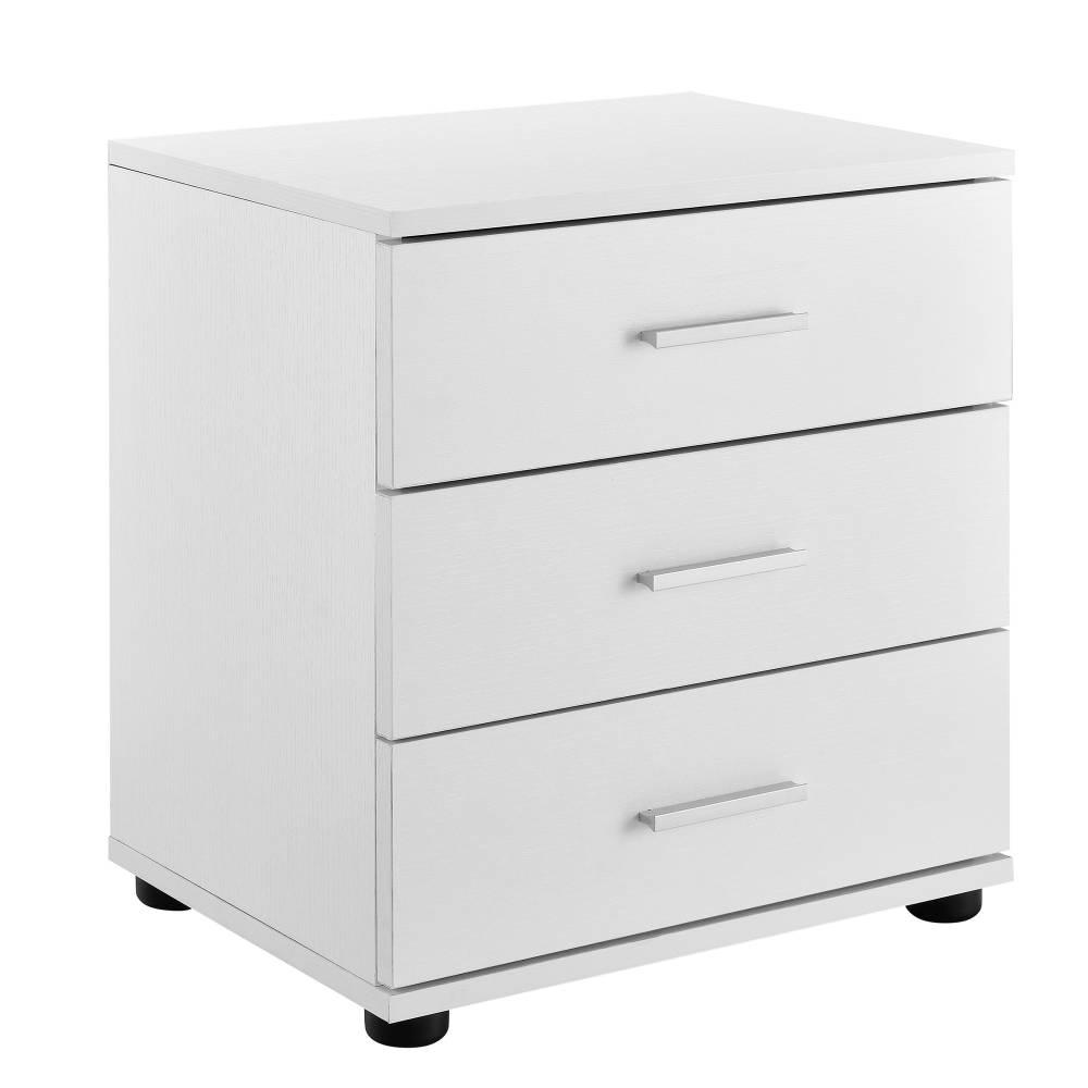 [en.casa]® Nočný stolík 3 zásuvky - komoda / kancelárska skrinka - biela