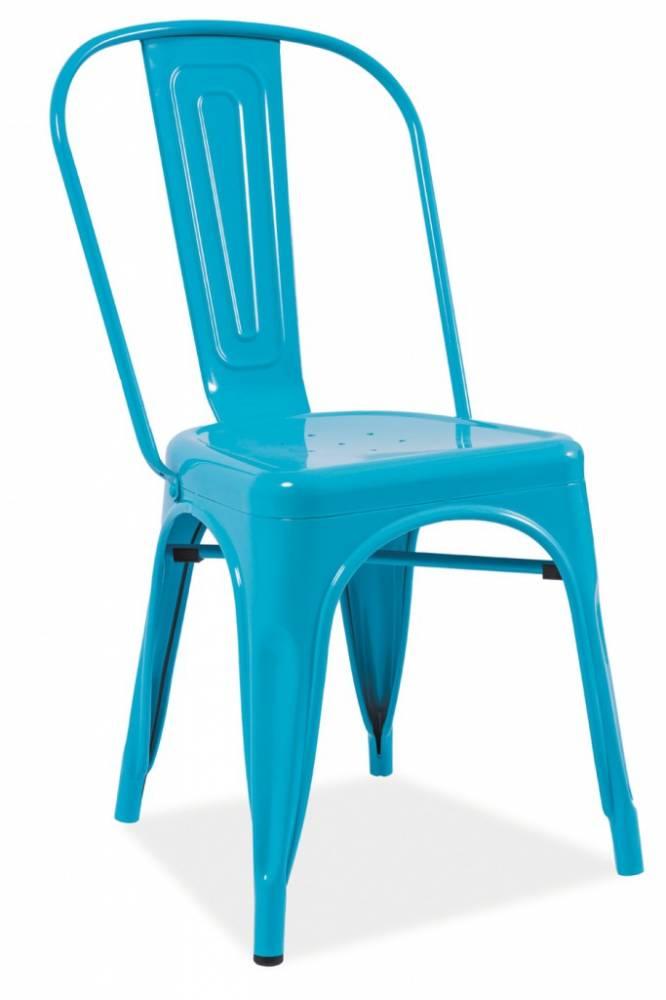 SIGNAL LOFT jedálenská stolička - modrý kov