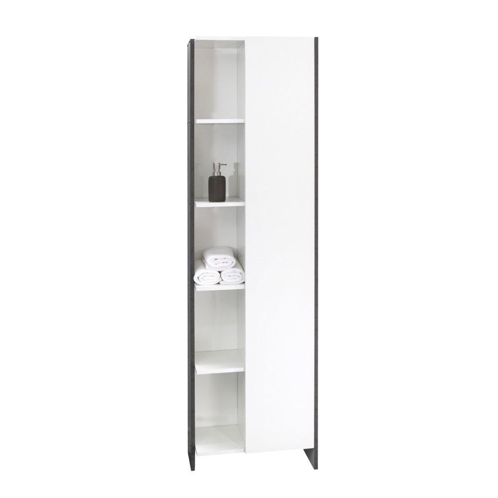 Biela kúpeľňová skrinka so sivým korpusom Symbiosis Auben, výška 180cm