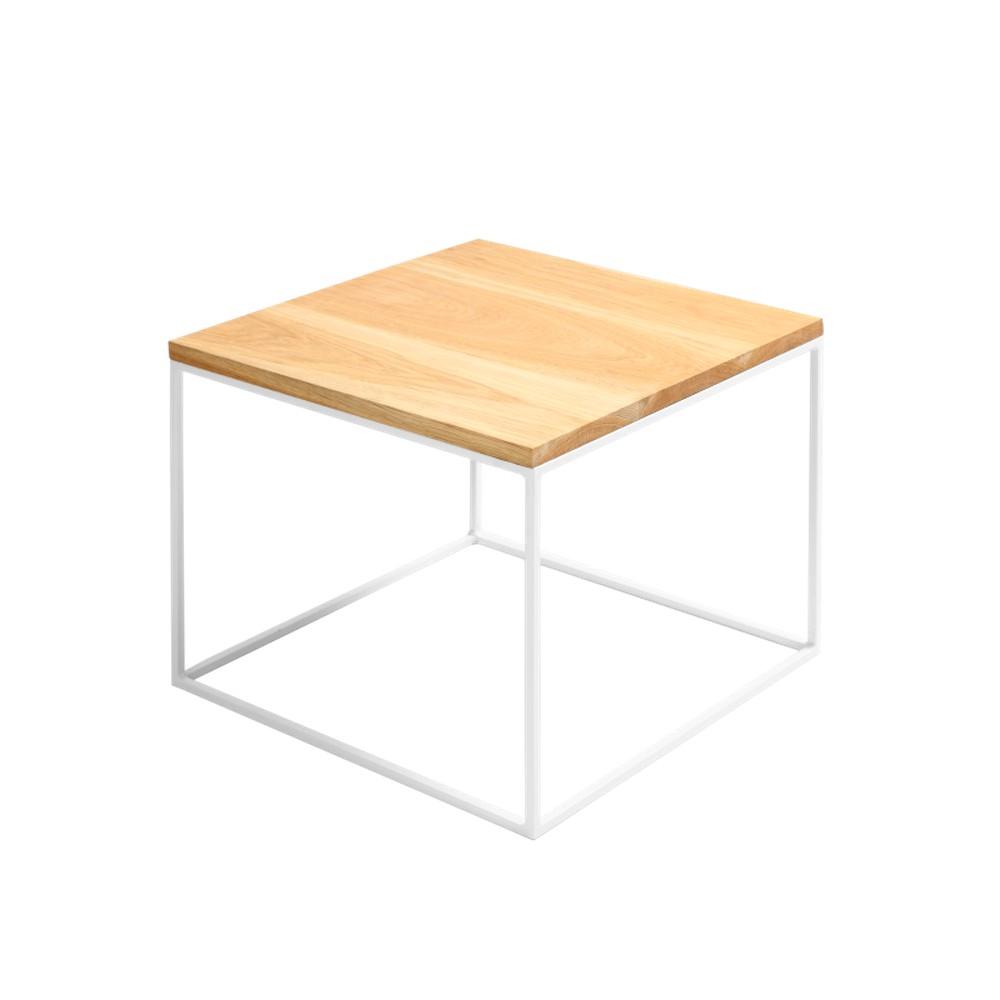 Konferenčný stolík s bielou podnožou a doskou z masívneho dubu Custom Form Tensio, šírka 50 cm