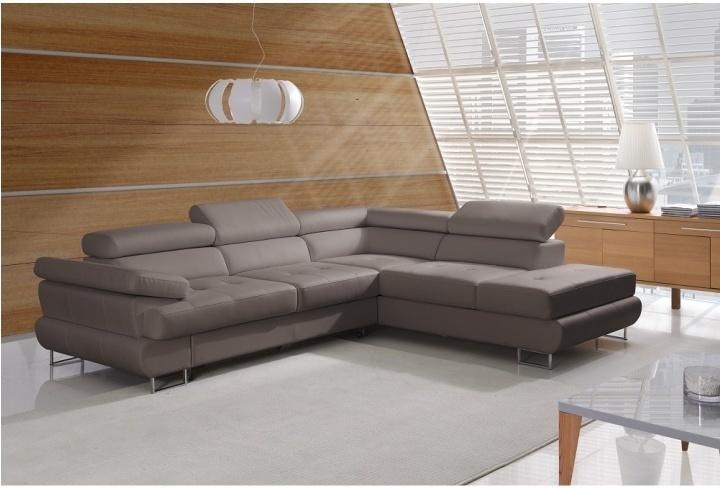 Rozkladacia rohová sedacia súprava s úložným priestorom, P prevedenie, ekokoža sivohnedá, BUTON