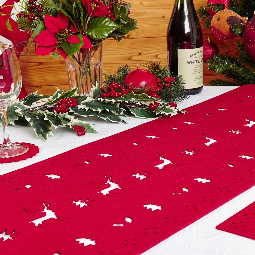 Červený behúň na stôl  Neviti Reindeer