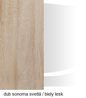 Šatníková skriňa SOLAR SLR 05   Farba: Dub sonoma svetlá / biely lesk