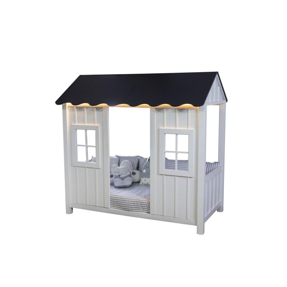 Bielo-sivá detská jednolôžková posteľ v tvare domčeka Mezzo Anka, 90 × 190 cm