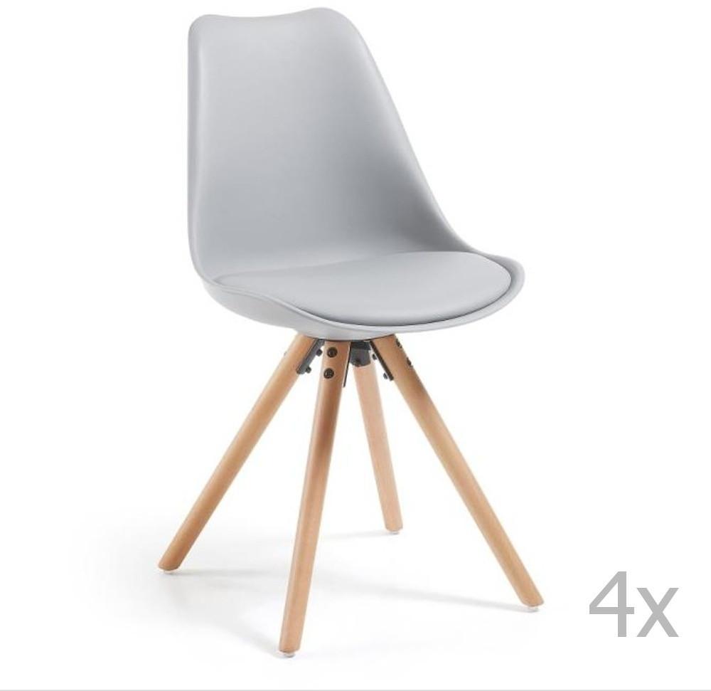 Sada 4 sivých jedálenských stoličiek s dreveným podnožím La Forma Lars