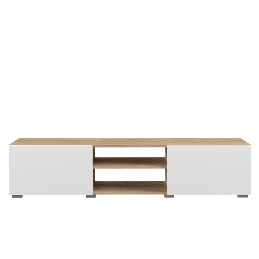 Biely TV stolík s doskou v dekore bukového dreva Symbiosis Podium