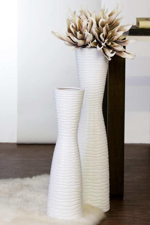 Keramická váza TAMERA 77 cm - biela