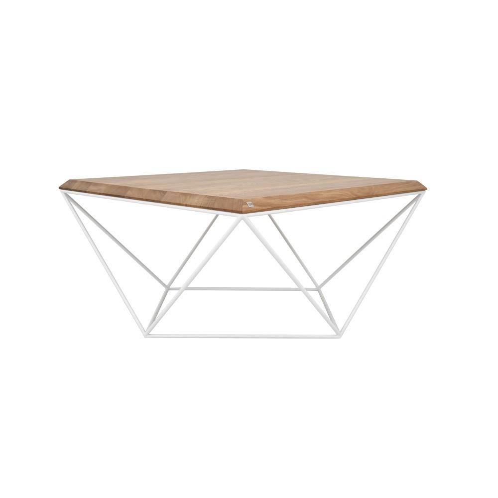 Biely konferenčný stolík s doskou z dubového dreva Take Me HOME Tulip, 80×80cm