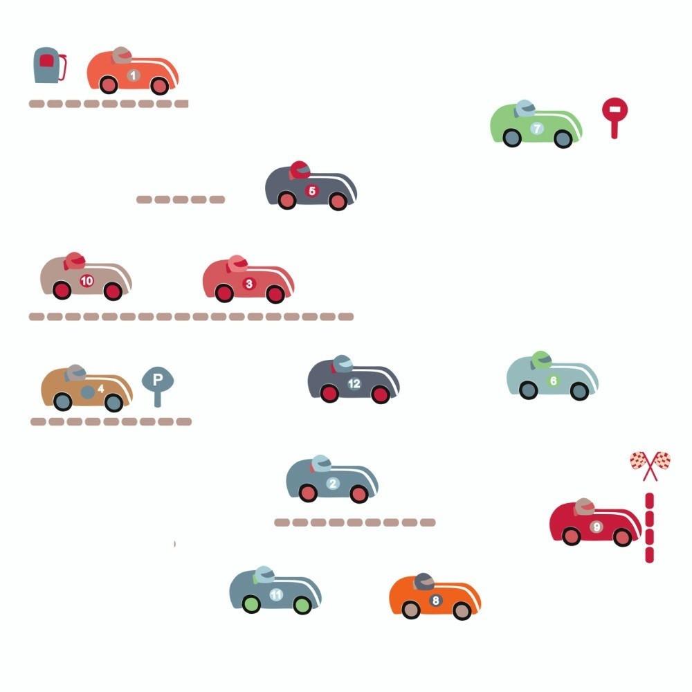 Nástenné samolepky Art For Kids Race Cars