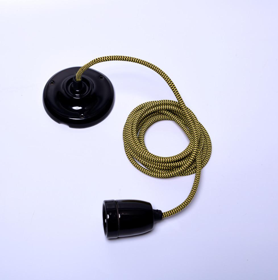 Žltý kábel na stropné svetlo s čiernou objímkou Filament Style Diamond
