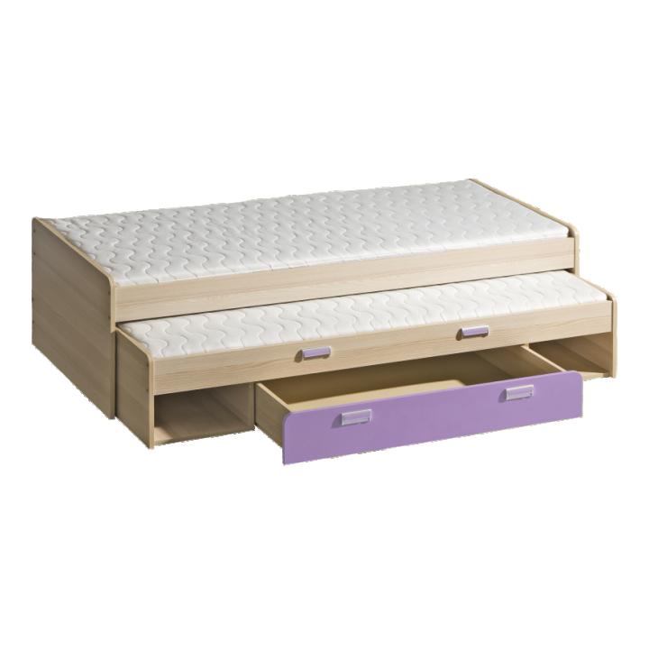 Rozkladacia posteľ 80 cm Ego L16 fialová (s dvomi matracmi a roštami)