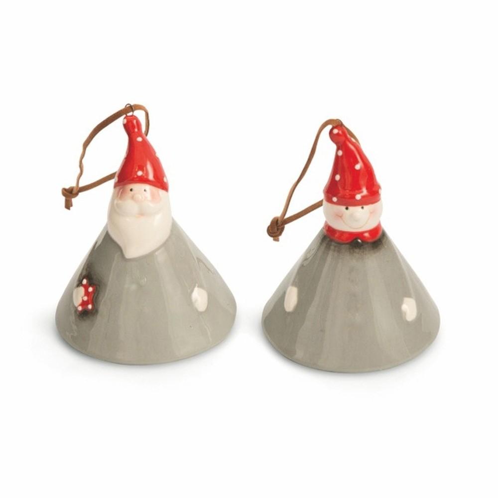 Sada 2 vianočných závesných dekorácií Villa d'Este XMAS Appendini Campanella Grigi