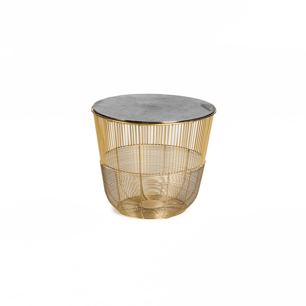 Príručný stolík v zlatej farbe Simla Circle, ⌀ 38 cm