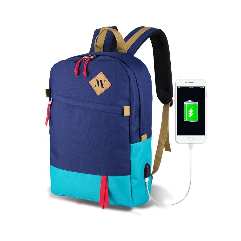 Modro-tyrkysový batoh s USB portom My Valice FREEDOM Smart Bag