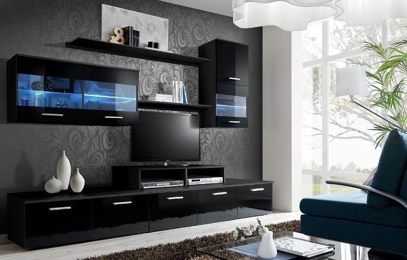 ASM LOGO II ZZ obývacia stena - čierna / čierny vysoký lesk