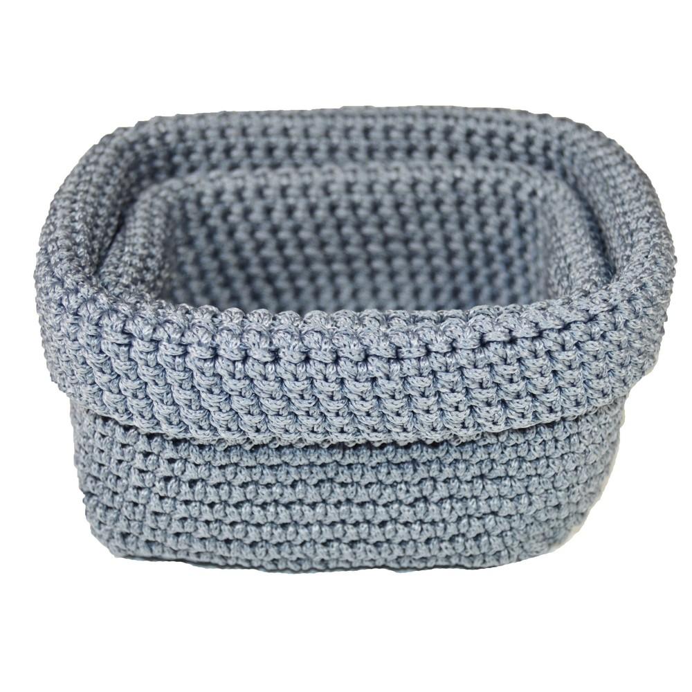 Set 2 košíkov Crochet Blue