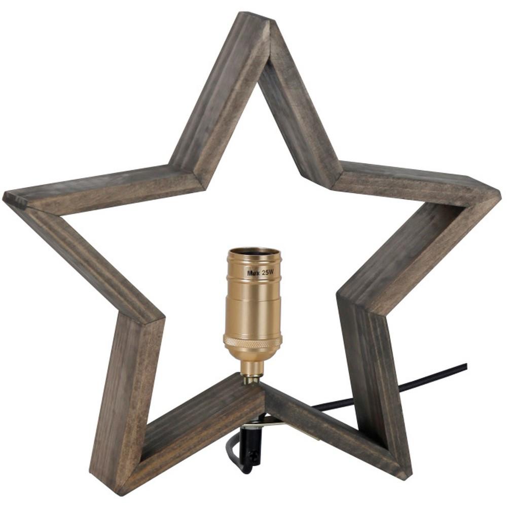 Hnedosivá drevená svietiaca hviezda Best Season Lysekil, 30 x 29 cm