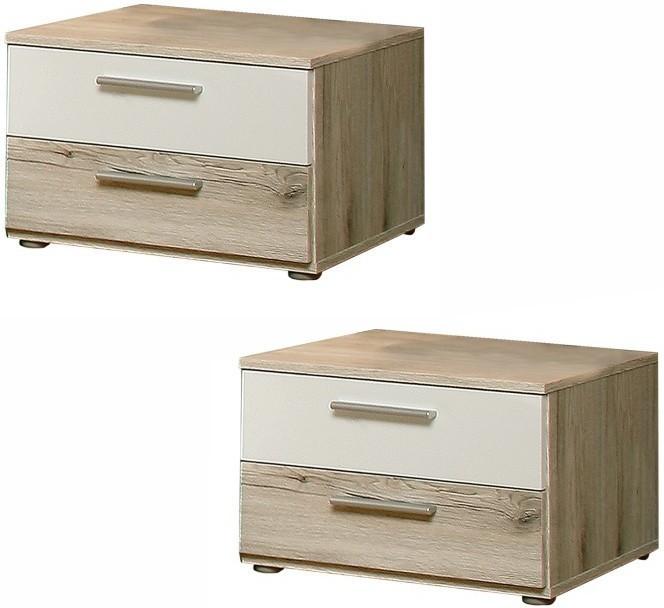 TEMPO KONDELA VALERIA 02 2x nočný stolík - dub pieskový / biela
