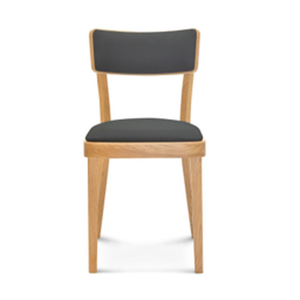 Drevená stolička s sivým polstrovaním Fameg Lone