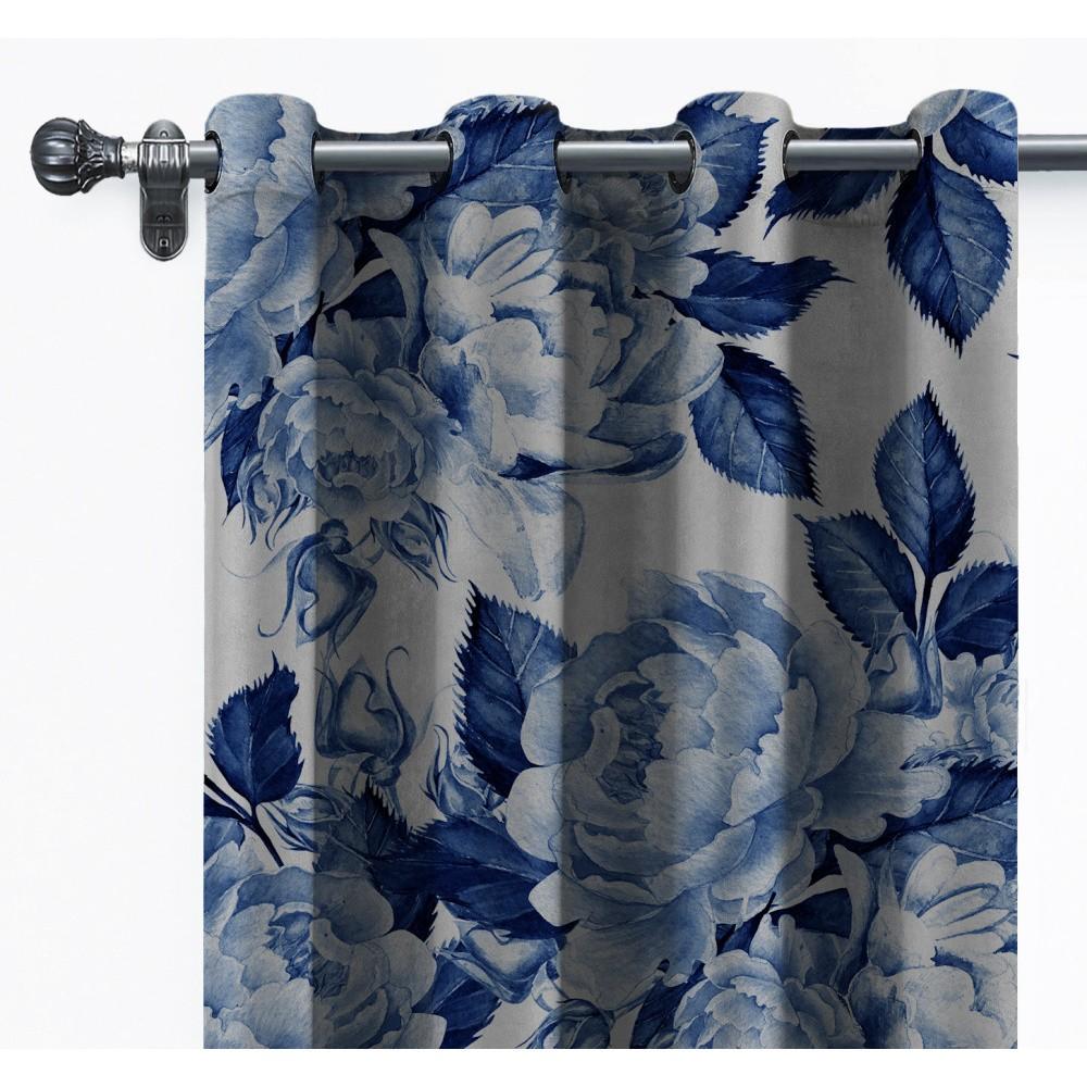 Záves zo zamatu Velvet Atelier Flowers, 140×260 cm