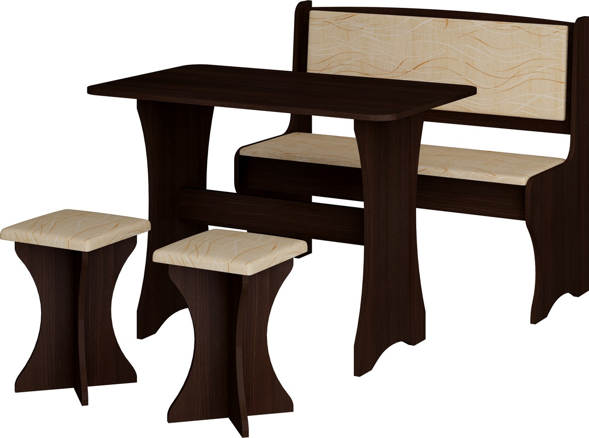 Jedálenský set wenge + monaco (s taburetkami) (pre 4 osoby)