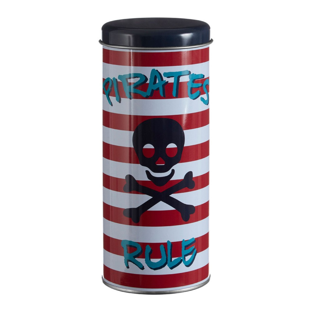 Valcovitá cínová dóza Premier Housewares Pirate, Ø 8×18 cm