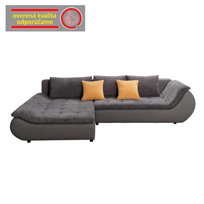 TEMPO KONDELA Rozkladacia rohová sedacia súprava s úložným priestorom, Ľ prevedenie, ekokoža sivá/látka sivá, BRATO