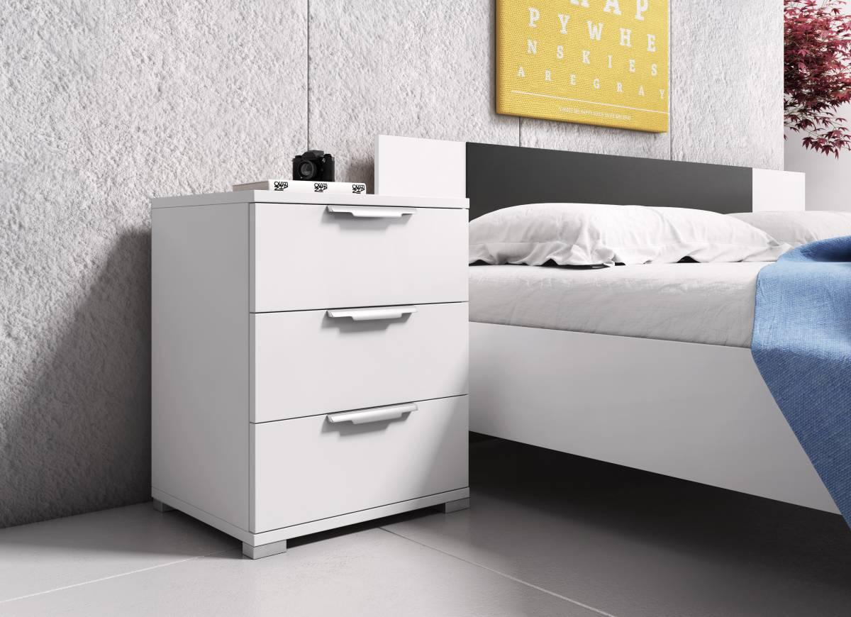 Nočný stolík Naka 3S (biela)