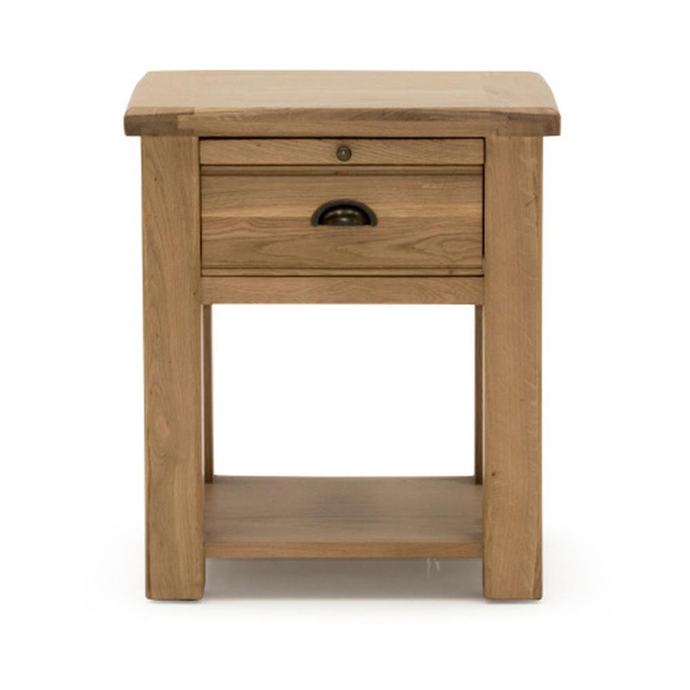 Nočný stolík so zásuvkou z dubového dreva VIDA Living Breeze