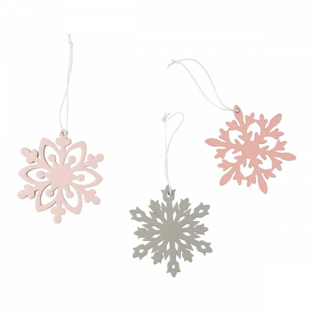 Altom Sada drevených vianočných ozdôb Snowflakes, 3ks