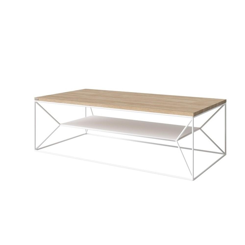 Biely TV stolík s doskou z dubového dreva Take Me HOME, 120×60cm