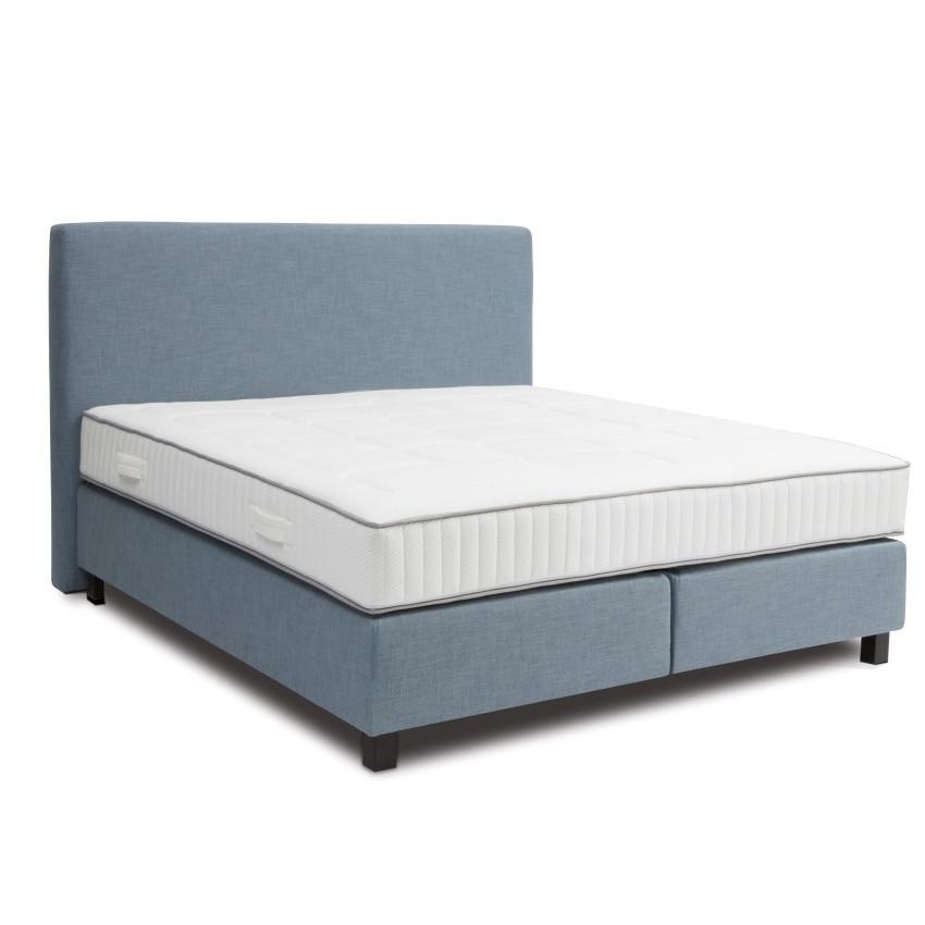 Svetlomodrá boxspring posteľ Revor Roma, 200 x 200 cm